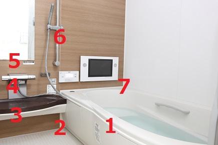 浴室のカビが生えやすい場所